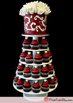 Burgundy & White Cupcake Tower » Pink Cake Box