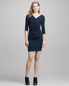 Bentley Short Ruched Dress, Blackened Blue by Diane von Furstenberg at Neiman Marcus