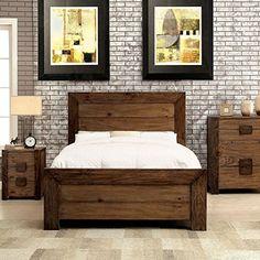 Furniture of America Kailee Rustic Natural Tone Platform Bedroom Set (Cal. Rustic Bedroom Furniture, Bedroom Furniture Stores, Furniture Deals, Bed Furniture, Furniture Design, Online Furniture, Bedroom Decor, Furniture Websites, Wood Bedroom