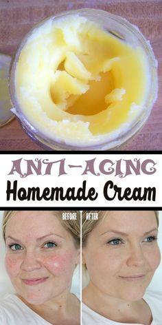 Natural DIY Face Masks : Anti-aging Homemade Cream -Read More – Homemade Face Masks, Homemade Skin Care, Homemade Beauty, Best Diy Face Mask, Anti Aging Cream, Anti Aging Skin Care, Natural Skin Care, Natural Beauty, Beauty Care