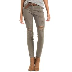 Charlotte Russe Colored Distressed Skinny Jeans ($37) ❤ liked on Polyvore featuring jeans, olive, super ripped skinny jeans, low rise skinny jeans, army green skinny jeans, destroyed skinny jeans and brown skinny jeans