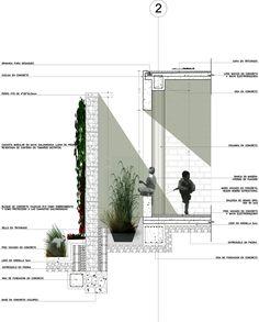Sistema pasivo para reducir la radiación solar mediante muro de piedra y vegetación. Sección constructiva