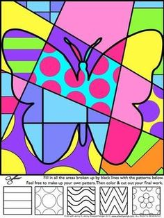 Spring Activities: Pop Art Interactive coloring sheets - four interactive designs and four pattern filled designs. | by Art with Jenny K