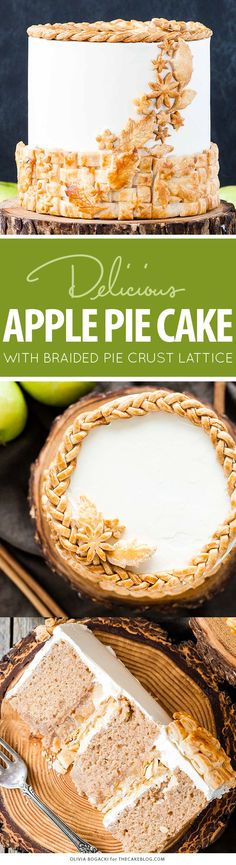 Apple Pie Cake! A layer cake recipe with hints of cinnamon and nutmeg, fresh…