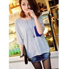 Blue Women Splicing Color Pocket Loose Cotton T-Shirts One Size... ($7.99) via Polyvore