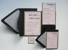 Glitter Hearts / Wedding Pocket Fold Set / by punchpaper on Etsy
