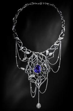 Jack du Rose Black Widow necklace in white gold, black, white and grey diamonds, tanzanite and enamel (£POA). Gothic Jewelry, Jewelry Art, Fine Jewelry, Jewelry Necklaces, Jewelry Design, Jewlery, Insect Jewelry, Designer Jewellery, Jewelry Boards