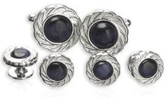 A deep blue bead is set in place between a textured silver ring in these classy-yet modern cufflinks. Each black stone is made from colored fiber-optics that are designed to reflect the light in cool and interesting ways. Tux Shirt, Groom And Groomsmen, Fiber Optic, Blue Beads, Blue Wedding, Studs, Gemstone Rings, Silver Rings, Formal