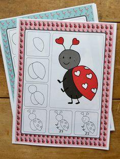 Ladybug directed drawing. Valentine's Art activity. Art projects for Kindergarten, Grade 1 Grade 2 and Grade 3.