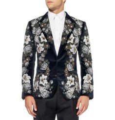 Dolce  Gabbana Slim-Fit Embroidered Velvet Blazer | MR PORTER