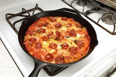 """Easy Pizza Recipe - """"It's a pan pizza that requires no kneading, no rolling, no stretching, no special equipment or experience whatsoever, just a scale, a bowl, a pan, and bit of time."""""""