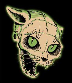 Vintage Halloween Cat Skeleton die cut decoration.