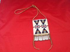 Reproduction-Sioux-Style-Beaded-Neck-Bag-tin-cone-fringe-excellent-condition