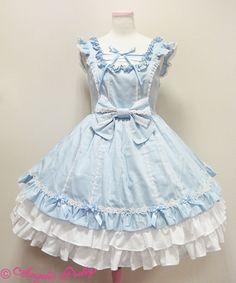 Lace-up Angel jumper skirt - sax blue | #AngelicPretty #AP #JSK #Dress #Lolita
