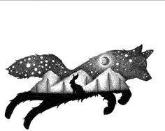 Wolf, space and a rabbit. Perfect tattoo for me