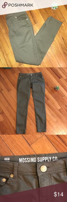 Mossimo Supply Co. Skinny Jean Olive mossimo supply co. Skinny jean. Size 9, but is fit 6 size. Washed, but never worn. Please feel free to ask any additional questions!   ✨Make an offer with the offer button! 🚭Smoke free home!  ❌No trades, sorry!  💖Thank you for shopping my closet! Mossimo Supply Co. Jeans Skinny