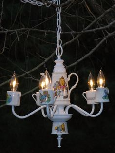 Vintage Recycled Re-Purposed 1991 Wizard of Oz Tea Cup and Tea Pot White Kitchen Nursery Chandelier.