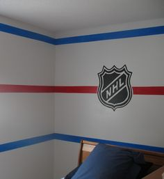 Wall idea boys hockey sports room in 2019 хоккей, роспись ст Boys Hockey Bedroom, Boys Bedroom Paint, Hockey Room, Boys Bedroom Decor, Bedroom Themes, Bedroom Ideas, Kid Bedrooms, Hockey Decor, Hockey Gifts
