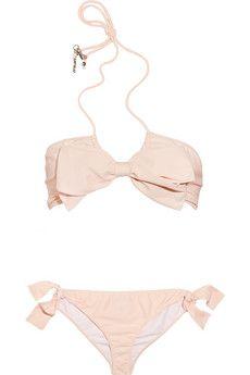 Miu Miu.  Bow-embellished halterneck bikini.