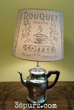 Vintage coffee pot light featured on our blog. Where we show our passion for creating repurposed and refurbished items Follow us for more wonderful pins at http://pinterest.com/3spurzdandc/ http://facebook.com/ http://www.3spurzdesignsandcollectables.com/home 3 Spurz D&C Repurposed /Refurbished Creations!!