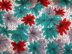 red, aqua and gray floral print by blempgorf, via Flickr