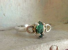 Raw rough Colombian Emerald- Tiffany Style-Cocktail-promise-engagement-union ring