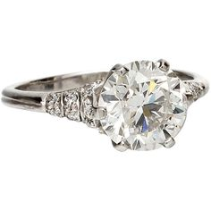 Pre-owned Edwardian Style Platinum and Round Cut Diamond Engagement... ($35,750) ❤ liked on Polyvore featuring jewelry, rings, engagement rings, edwardian engagement rings, platinum engagement rings, round diamond ring, drusy ring and round diamond solitaire ring