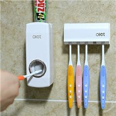 Automatic Toothpaste Squeezer.  Great for people with motor or hand gripping concerns. Fabulous!   www.sporkability.org