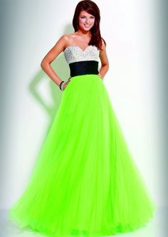 Dresses- Formal- Prom Dresses- Evening Wear: Long A-Line Neon ...
