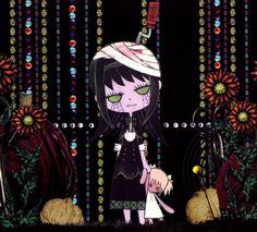 Arte oficial de Puella Magi por Inu Curry; estilo inspirado por animação Russa e Checa.