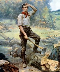 """This vintage painting shows a young Abraham Lincoln """"The Rail Splitter"""" chopping wood."""