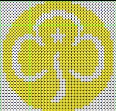 Brownie Trefoil perler beads 39x39 bead count Hama Beads Patterns, Beading Patterns, Hamma Beads Ideas, Crochet Cat Toys, Crochet Scarf Easy, Crochet Baby Bonnet, Rainbow Crafts, Thinking Day, Yarn Shop