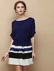 Loose Bat Sleeve Sweater Women Tops With Stri... – USD $ 30.59