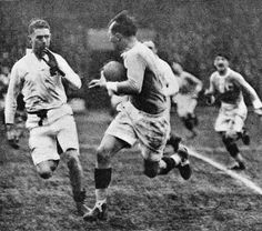 France wing Adolphe Jaureguy takes on the England defence, France v England, Five Nations, Stade Olympique Yves-du-Manoir, Colombes, Paris, April 2, 1927