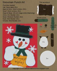 Alex's Creative Corner - Snwoman Christmas punch art card instructions