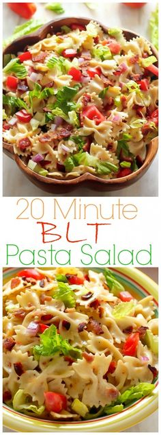 20-Minute BLT Easy Pasta Salad - we make this all the time! SO flavorful and fast!