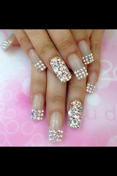 french nails art With Stones Glittery Nails, Fancy Nails, Love Nails, Trendy Nails, My Nails, Nail Art Designs, Nail Designs Bling, Bridal Nails Designs, Ongles Bling Bling