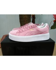 Womens Puma Rihanna X Creepers Casual Shoes Suede Pink White
