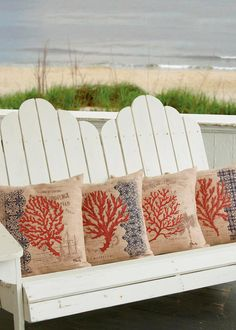 Decorate with underwater inspiration by giving your room or porch a touch of the sea with Coral Coast Compass Pillow Covers! #red #blue #natuical