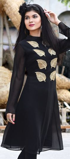 445512 Black and Grey  color family Kurti in Faux Georgette fabric with Machine Embroidery work .