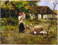 On the Farm - by Alfred Wierusz-Kowalski, ca. 1900; oil on wood panel; donated by Mr. & Mrs. Jan Janowski, 1958.