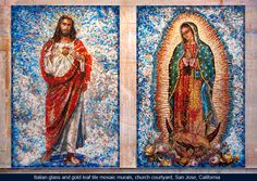 Italian glass and gold leaf tile mosaic murals depicting Our Lady of Guadalupe and Sacred Heart of Jesus, church courtyard, San Jose, California