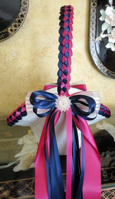 FLOWER GIRL BASKET #DIY #navy blue and #fuchsia #wedding - Google Search