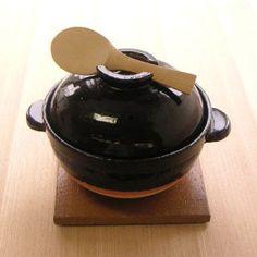 黒釉土鍋 二合炊き 鍋敷き・しゃもじ付き