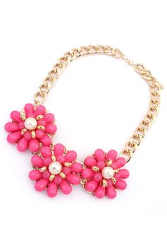 Candy Color Floral Bib Necklace