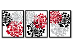 Red Black Gray Grey White Flower Print Flowers by CustomArtPrints