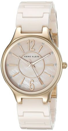 Anne Klein Women's AK/2182RGLP Glitter Accented Rose Gold-Tone and Light Pink Ceramic Bracelet Watch -- See this great watch.