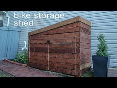 This is a storage shed designed for the storage of kids' bikes and kids' toys. The goal was to build a DIY outdoor storage shed with a modern design. Outdoor Bike Storage, Outside Storage, Diy Storage Shed, Garage Storage, Build A Bike, Build Your Own Shed, Barn Style Doors, Barns Sheds, Bike Shed