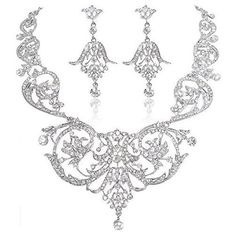 Ever Faith Austrian Crystal Flower Art Deco Wedding Necklace Earrings... (85 NZD) ❤ liked on Polyvore