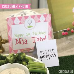 Paper goods and DIY printables for parties and holidays Golf Party, Party Signs, Kid Names, Paper Goods, Your Child, Pink, Make It Yourself, Label, Printing